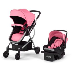 Urbini Omni 3-in-1 Travel System, Pink...... love this!!! If I have a girl I'm so getting this!!!