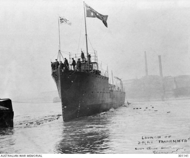 1910 HMAS Parramatta I was launched. During the First World War Parramatta served in the South West Pacific and took part in the capture of German colonies and later served in the Mediterranean on anti-submarine patrols.