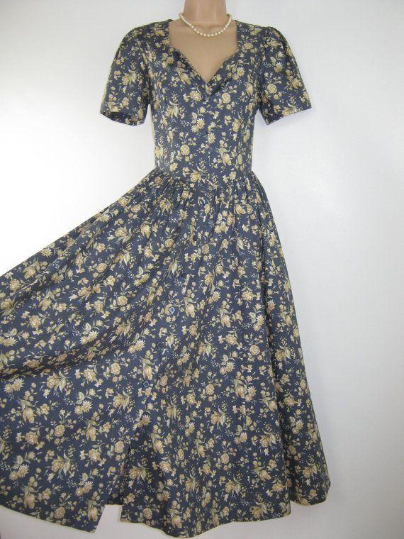 LAURA ASHLEY Vintage Cornfield Meadow Summer / Tea Dress, UK 14