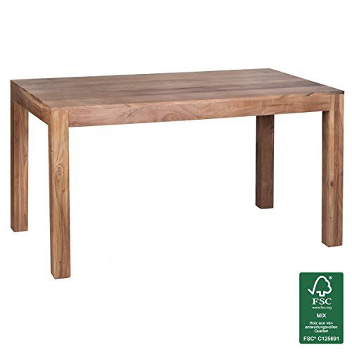 FineBuy Esstisch Massivholz Akazie 140 x 80 x 76 cm Esszimmer-Tisch Design Küchentisch modern Landhaus-Stil Holztisch rechteckig dunkel-braun Natur-Produkt Massivholzmöbel Echt-Holz unbehandelt