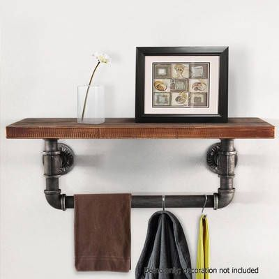 Industrial Floating Pipe Shelf with Rail by i.Life. Get it now or find more Wall Shelving at Temple & Webster.