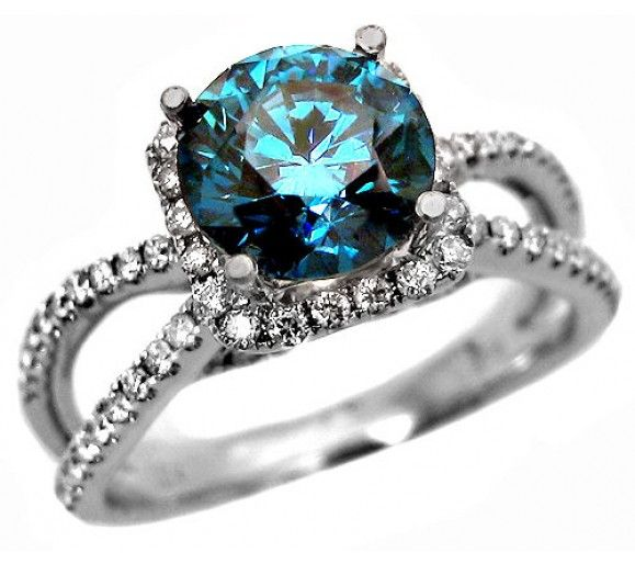 2.40ct Round Blue Diamond Engagement Ring in 18k White Gold / Front Jewelers