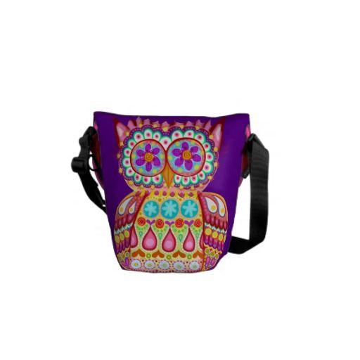Cute Retro Owl Messenger Mini Bag Courier Bag