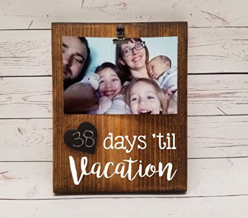 Vacation Countdown Tracker, reusable chalkboard calendar for trip or event, photo clip for holding a picture optional, days until, weeks until florida disney