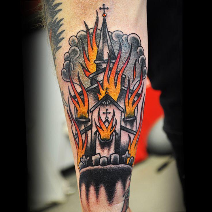 Tattoo of a burning church by steve fawley