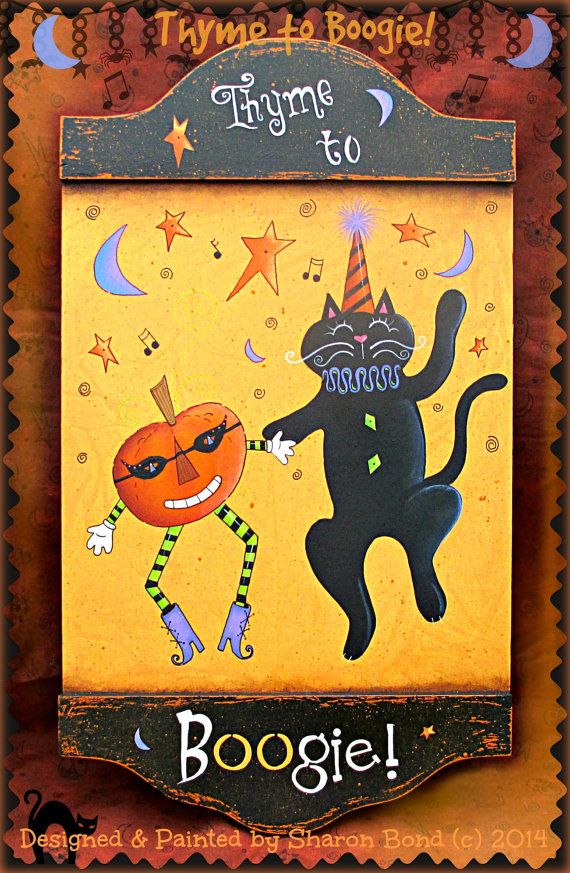 E PATTERN - Thyme to BOOgie!! Fun and Festive Cat and Pumpkin Dancing for Halloween! Designed & Painted by Sharon Bond