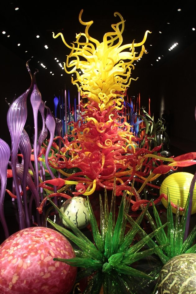 The Mille Fiori garden of glass display by artist Dale Chihuly at the Chihuly Garden and Glass exhibit in Seattle Washington