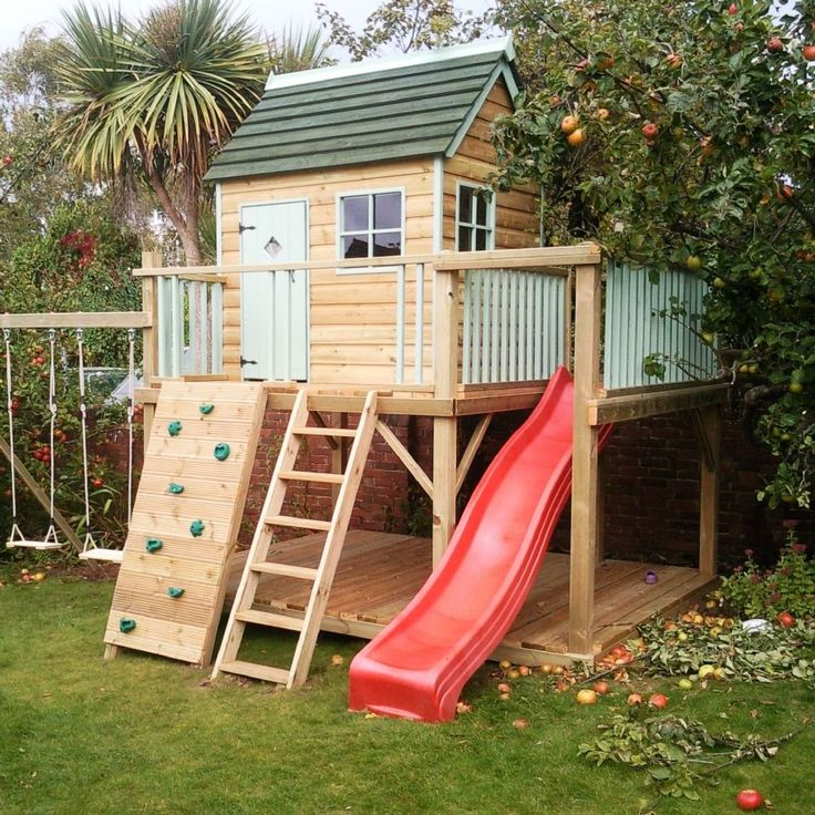 Marvelous Garden Playhouses for Your Children : Entrancing Others Architecture Exterior Cool Wooden Playhouse With Wood Stairs Climbing Boards And Red Slider Ideas For Your Kids In Home Garden