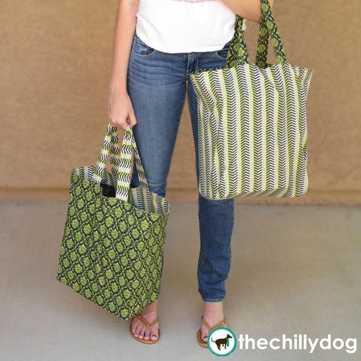 Large Reversible Shopping Bags - Sewing Pattern PDF