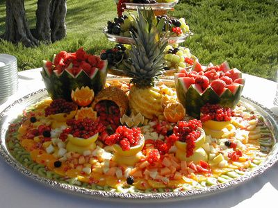Wedding Receptions Foods Displays | Fruitful Wedding Reception Buffet Centerpiece Glass Magnolia Bed and ...