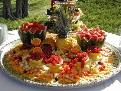 Wedding Receptions Foods Displays | Fruitful Wedding Reception Buffet Centerpiece Glass Magnolia Bed and ...
