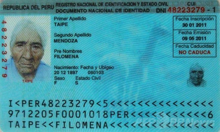 ペルー・ワンカベリカ(Huancavelica)州に住む1897年12月20日生まれで現在116歳とされるフィロメナ・タイペ・メンドーサ(Filomena Taipe Mendoza)さんの身分証明書(撮影日不明、ペルー開発・社会包摂省提供)。(c)AFP/MIDIS/HO ▼3May2014AFP|ペルーに暮らす女性、世界最高齢か 116歳4か月 http://www.afpbb.com/articles/-/3014113 #Huancavelica #Filomena_Taipe_Mendoza #116_year_old