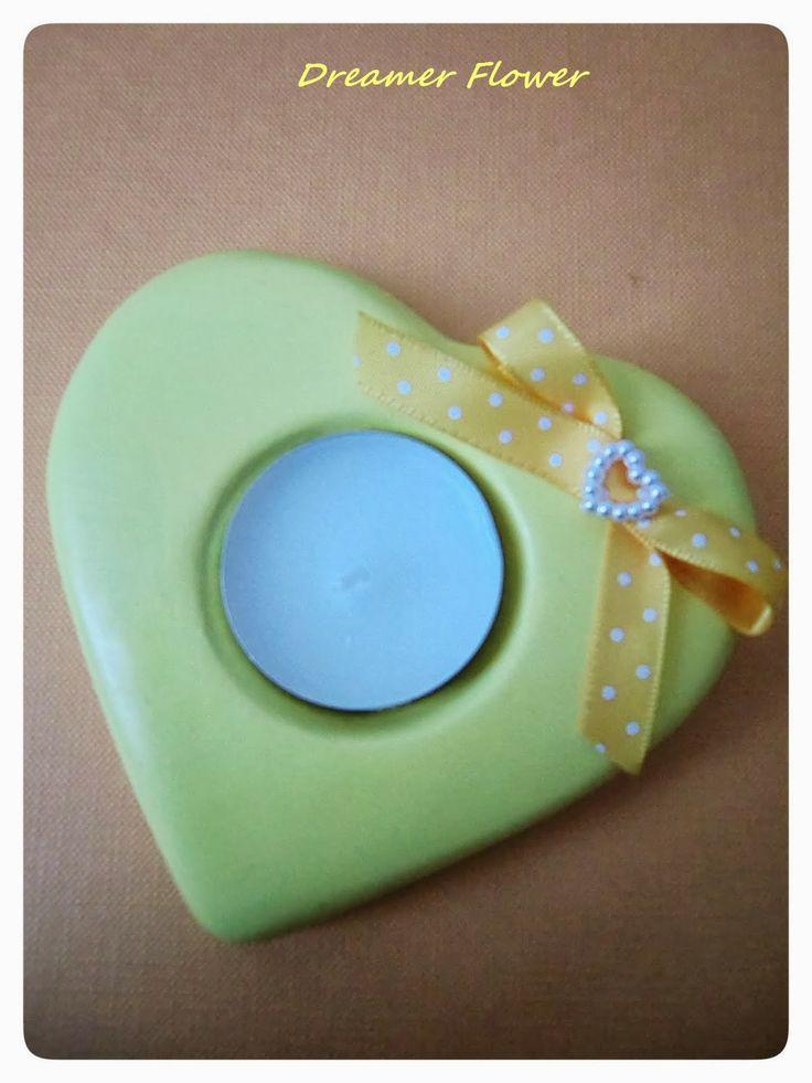 Portacandela in ceramica a forma di cuore, Heart ceramic candle holder