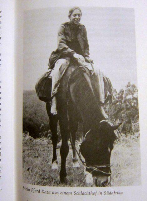 Christina Dodwell auf einem Pferd, das sie zuvor in einem Schlachthof in Südafrika gekauft hatte. Aus ihrem Buch Globetrotter-Handbuch, das 1985 auf deutsch erschienen ist.