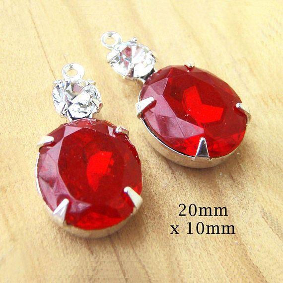 Rubí rojo Vintage abalorios - plata 20 mm x 10 mm - cristal Oval encantos - o configuración de terminales de latón - Color a elección - pedrería - un par