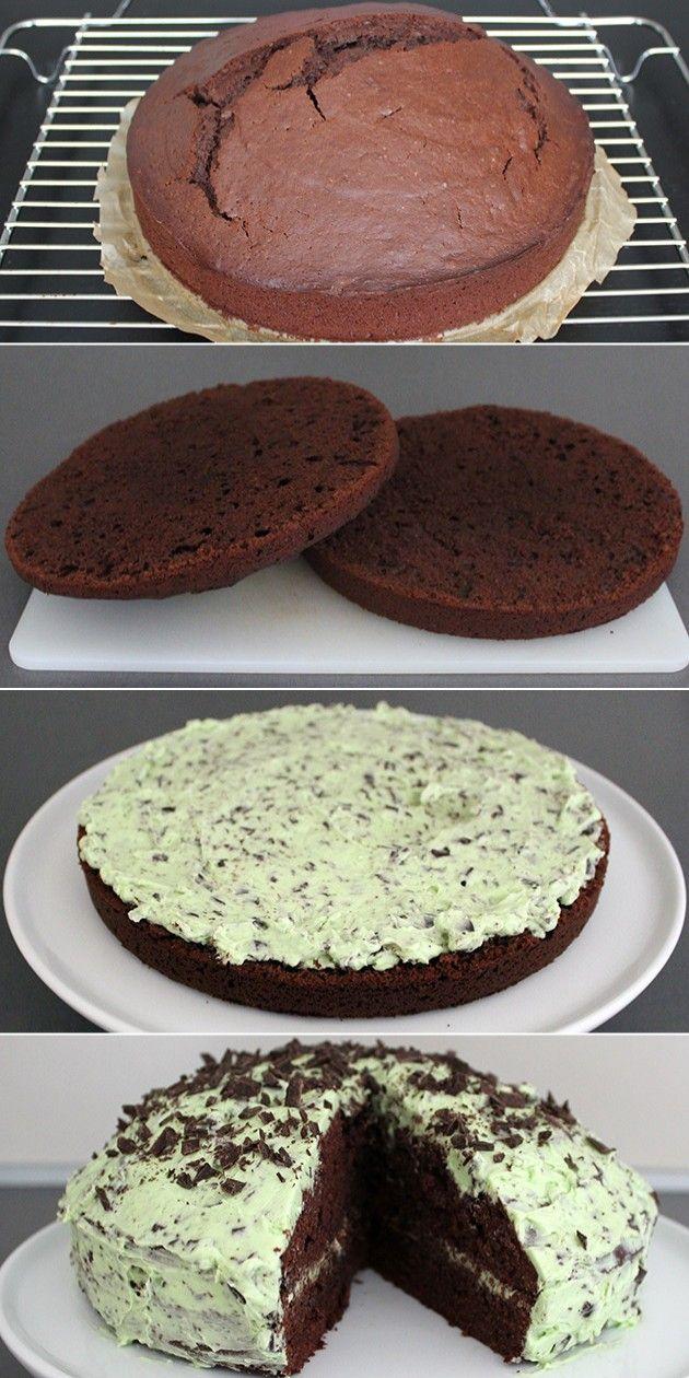 Fantastisk kage, hvor smørcremen med mint passer perfekt sammen med den svampede chokoladekage.