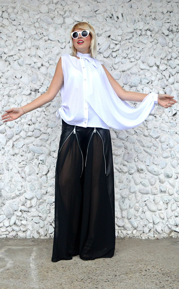 New in our shop! Extravagant Latex Pants / Loose Latex Pants with Large Zippers and Chiffon / Funky Black Pants TP27 / URBAN MUSE https://www.etsy.com/listing/495096098/extravagant-latex-pants-loose-latex?utm_campaign=crowdfire&utm_content=crowdfire&utm_medium=social&utm_source=pinterest