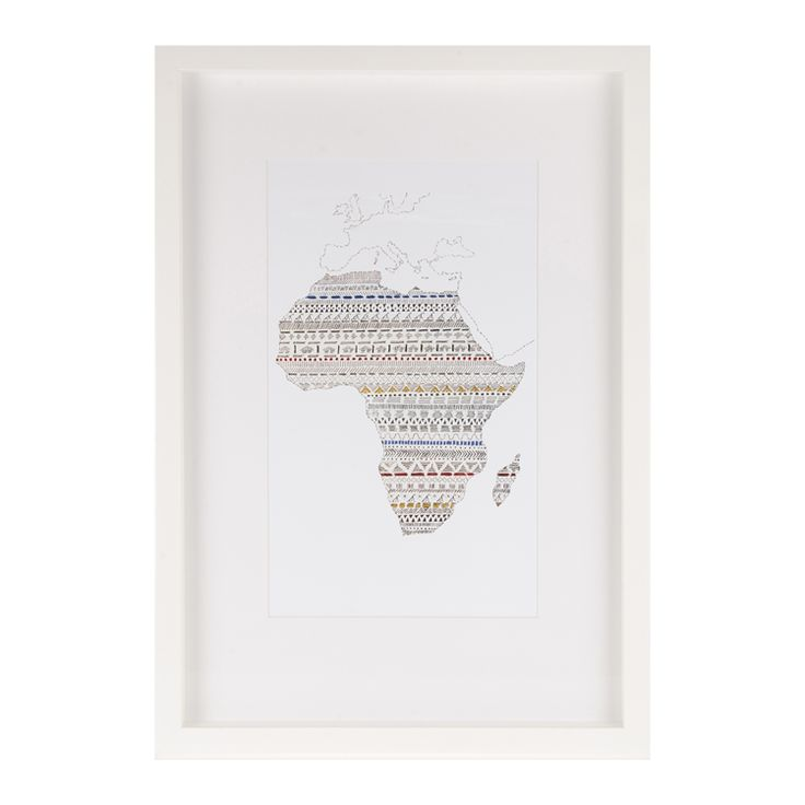 african map box frame 45x65cm