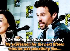 Brett Dalton at San Diego Comic Con 2014, on finding out Ward was Hydra.