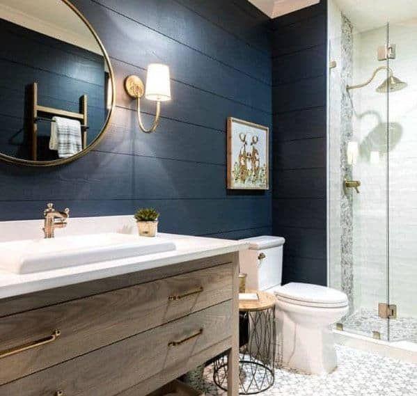 Top 50 Best Blue Bathroom Ideas Navy Themed Interior Designs In 2020 Bathroom Redecorating Shiplap Bathroom Dark Blue Bathrooms