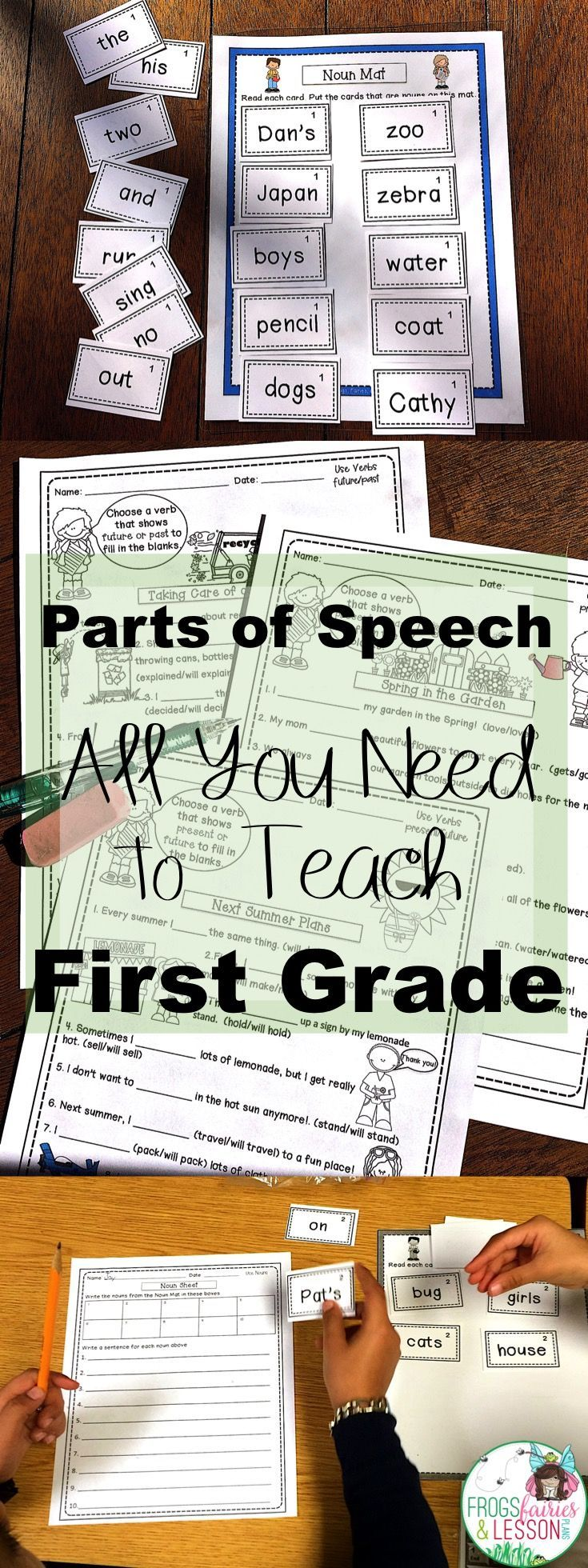 This packet has all of the First Grade Parts of Speech that you need to teach this year! It includes worksheets AND Literacy Centers for Nouns, Verbs, Adjectives, Pronouns, Prepositions, Conjunctions, and Determiners! Your students will be engaged and you won't have to spend hours looking for resources! Click to see full description and preview.
