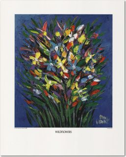 "PRO HART PERSONALLY SIGNED PRINT ""WILD FLOWERS"" LAST ITEM I HAVE!"