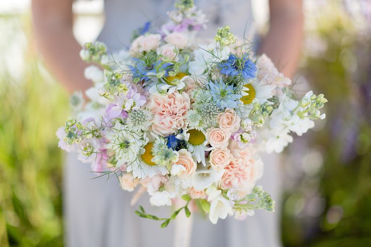 Beautiful peach blue and white bouquet