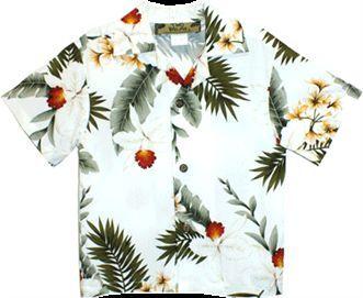Hawaiian Orchid White Rayon Boys Hawaiian Shirt