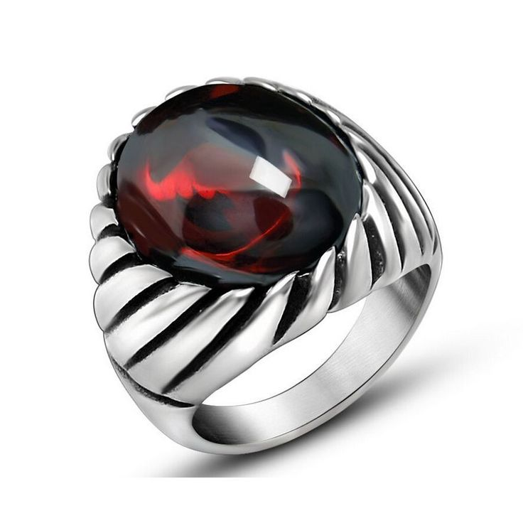 Black Onyx Red Agate Ring For Men Thick Band In Antique Titanium Stainless Steel Vintage Gothic Style Mens Acessories * gothic jewelry, gothic rings, gothic jewelry rings, gothic accessories, gothic accessories jewellery, gothic jewelry & accessories #OnyxRingsWomen