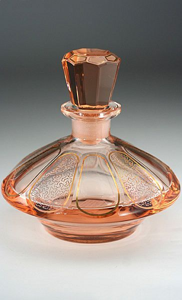 c.1920 Pink Glass Deco Dressing Table Scent Perfume Bottle