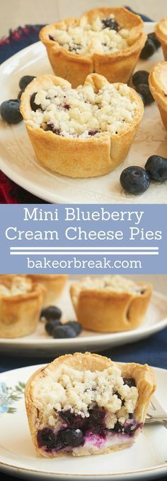 Traditional blueberry pie gets miniaturized and filled with sweetened cream cheese in these Mini Blueberry Cream Cheese Pies! - Bake or Break ~ http://www.bakeorbreak.com