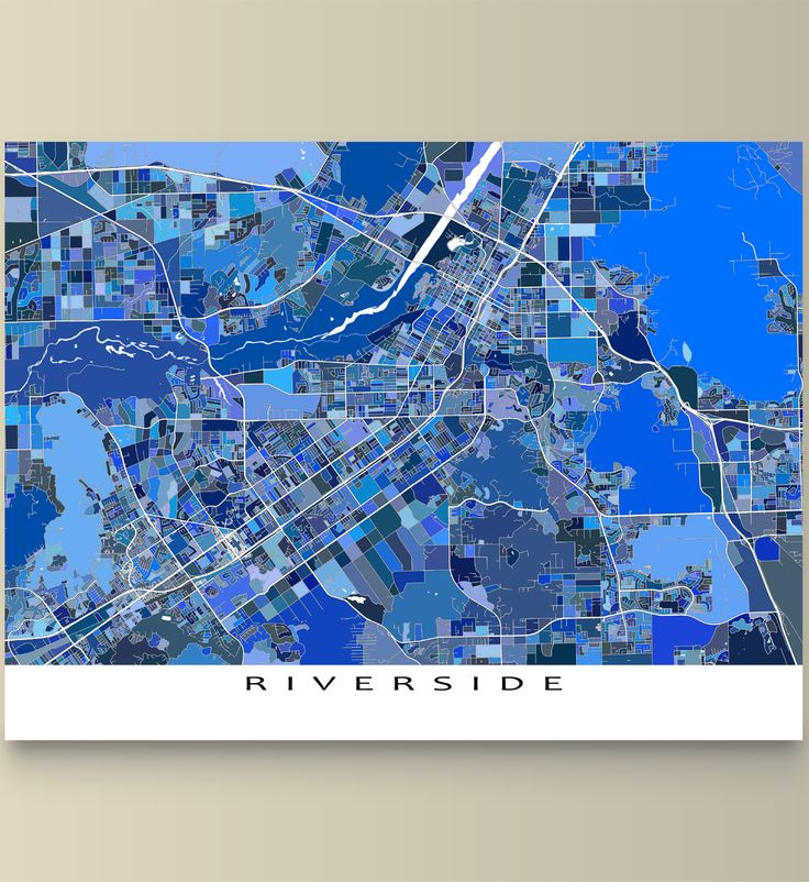 North American Eca Map%0A Riverside map art print featuring the city of Riverside  California  USA   This Riverside