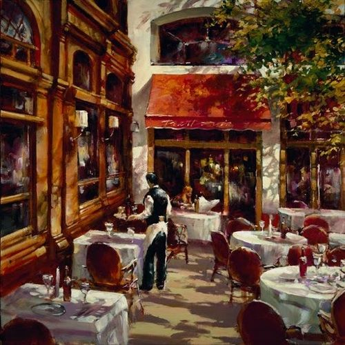 Brent Heighton- La Trattoria. Love all of his cafe paintings!