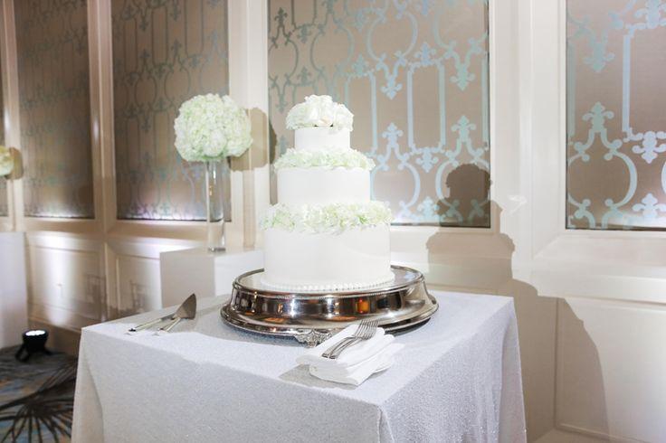 Classic three tier monochrome wedding cake   Fairytale Wedding at The Four Seasons Resort At Walt Disney World (Scribbled Moments Photography)