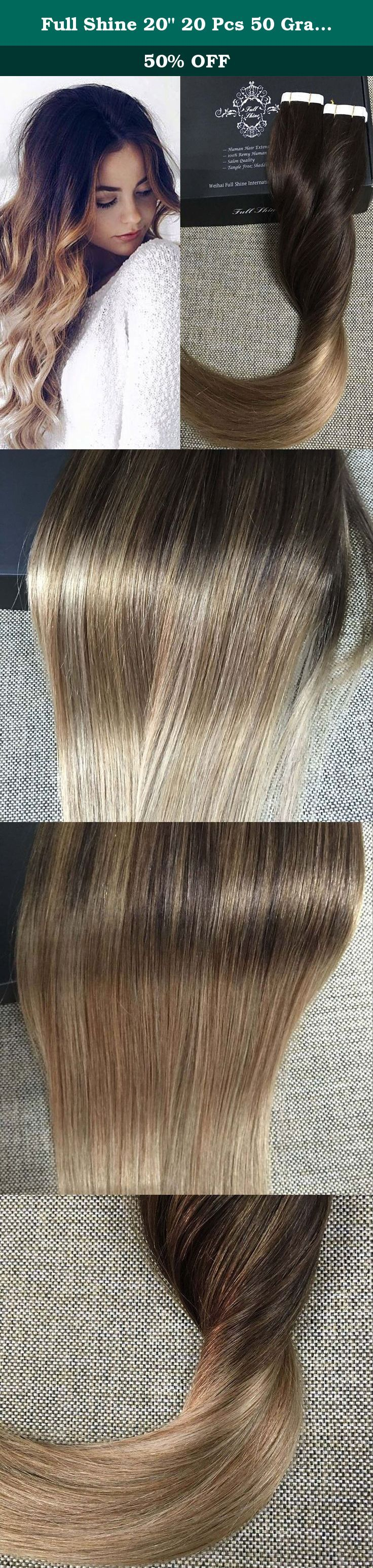 "Full Shine 20"" 20 Pcs 50 Gram #2 Dark Brown Fading to #6 Chestnut Brown to #18 Ash Blonde Remy Ombre Dip Dye Hair Extensions Glue in Hair Extensions Human Hair Double Sided Tape Hair Extensions. Full Shine tape in extensions are made with 100% remy human hair and premium hypoallergenic tape adhesive that is strong, safe, and non-damaging. Our tape extensions are made with an anti-shedding technology which feature a unique sew line on the tape weft to prevent shedding and tangling. Our…"