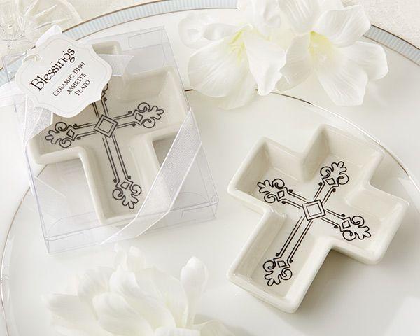 Cute trinket holder baptism favor ceramic cross