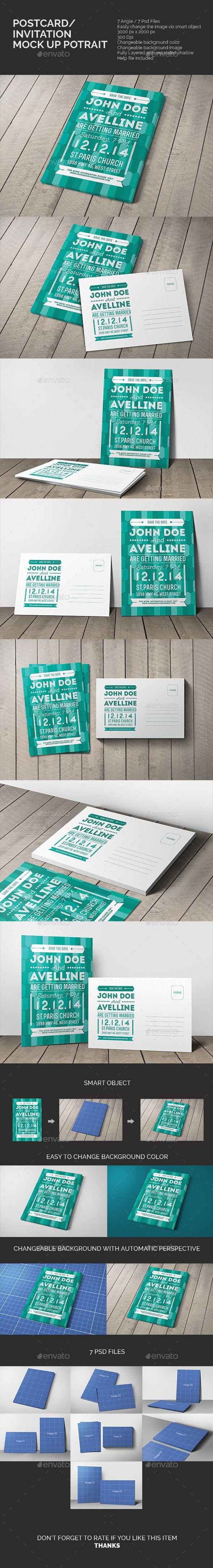 Postcard & Invitation Mock-up Potrait #postcardmockup #invitationmockup Download: http://graphicriver.net/item/postcard-invitation-mockup-potrait/10484650?ref=ksioks