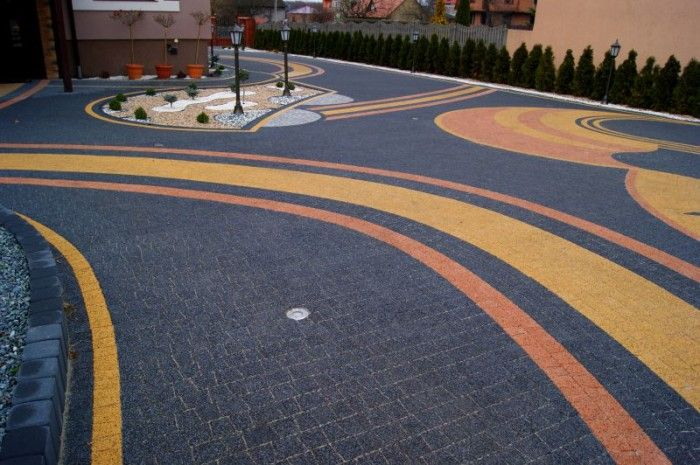 Kostka dekoracyjna Granit płaski w kolorze płukany grafit - płukany żółty - płukany łosoś.