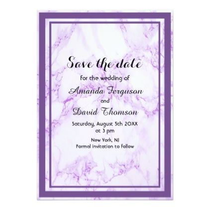 Ultra Violet Marble Wedding Save The Date Card Invitation Cards And Weddings