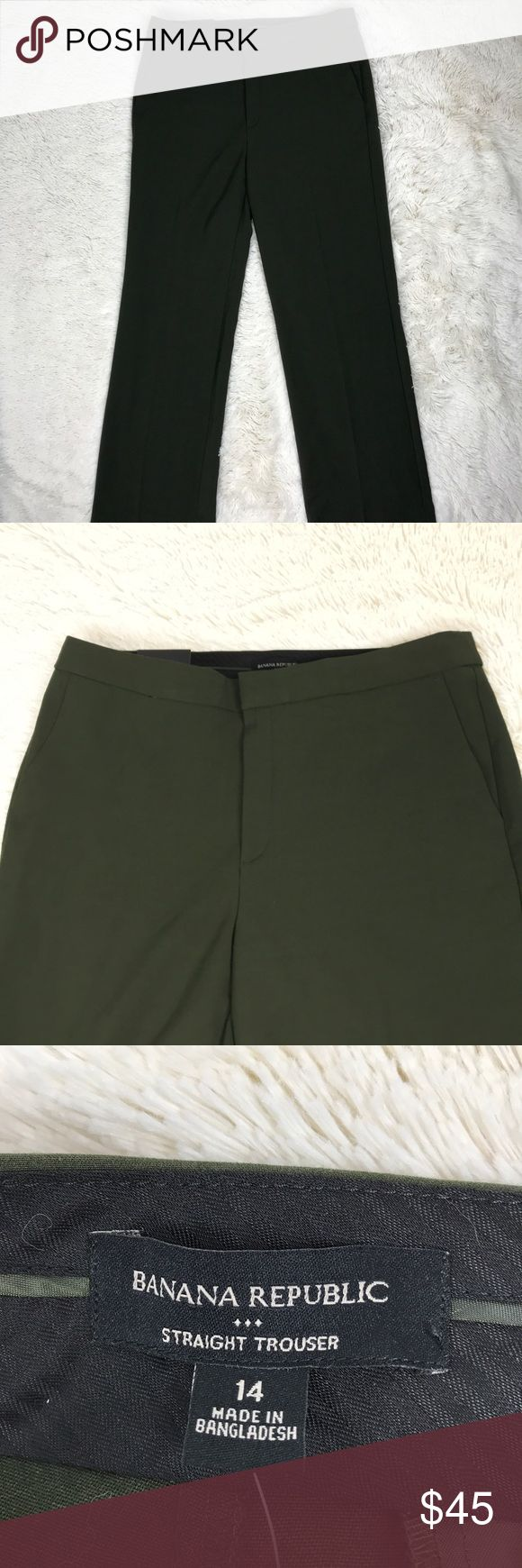 """NWT Banana Republic Straight Trouser Pants NWT women's size 14 dark green Banana Republic stretch, straight leg trouser pants. 79% polyester, 15% viscose, 6% spandex.   Measurements (flat lay): Waist – 18"""" Hips – 21"""" Length – 44 1/2"""" Inseam – 32 1/2""""  Comes from a smoke free home!   New With Tags! No rips, tears, holes or stains. Banana Republic Pants Straight Leg"""