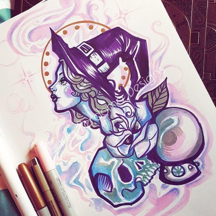 Enchanted  #illustration #illustrator #tattooart #tattooapprentice #art #comissionart #artistforhire #toronto #illustrator #torontoillustrator #witch #mystic #enchanted #crystalball #skull #floral #flower