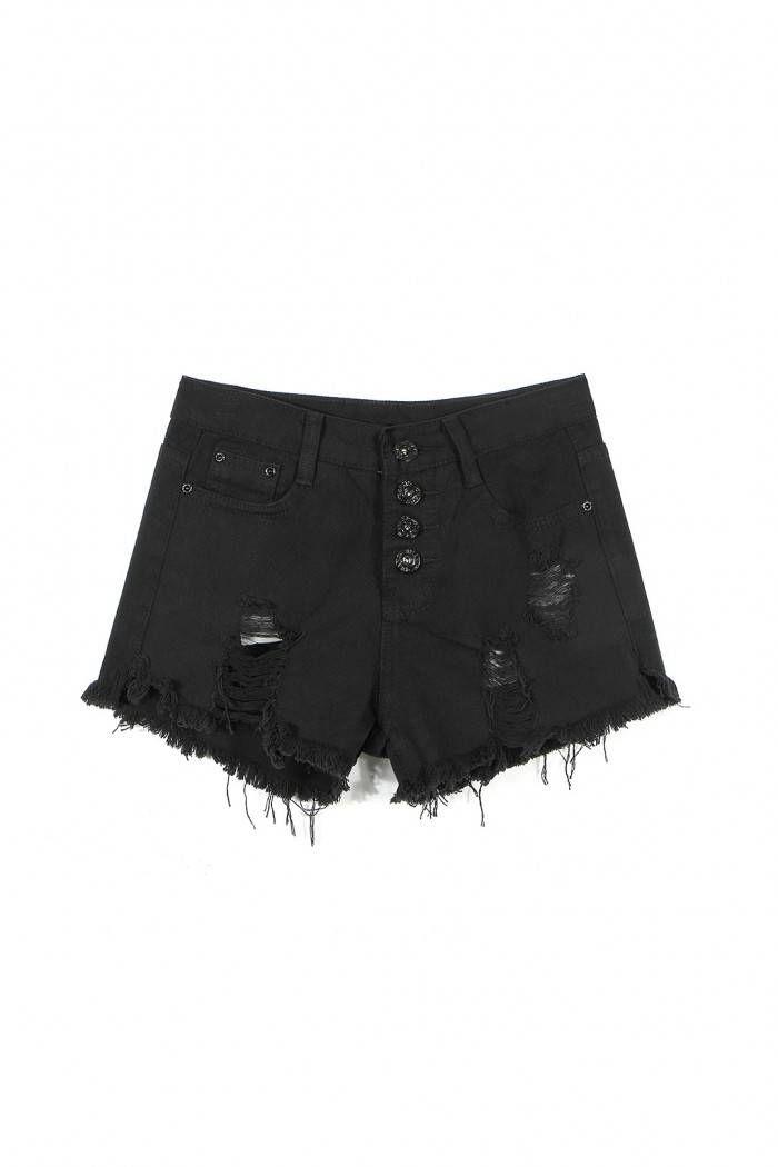 Black Fringe Ripped Denim Shorts - US$13.95 -YOINS                                                                                                                                                                                 Más