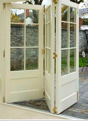 Love the folding French Doors. A great solution when there's limited space.