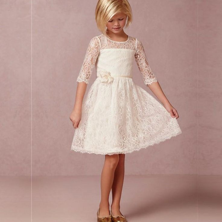 2016 Vintage Ivory Lace Flower Girl Dresses Half Sleeve Short First Communion Vestido De Daminha With Handmade Flowers Cheap-in Flower Girl Dresses from Weddings & Events on Aliexpress.com | Alibaba Group