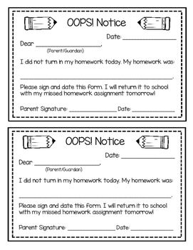 OOPS Notice! Missing Homework Parent Slip