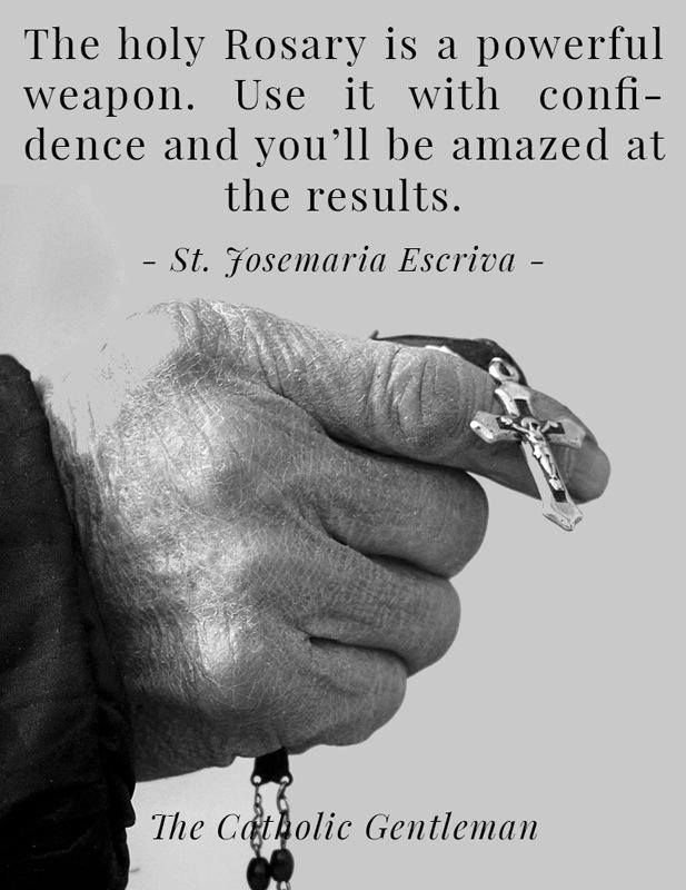The Rosary is a powerful weapon.  Use it with confidence and you'll be amazed at the results.  --St. Josemaria Escriva