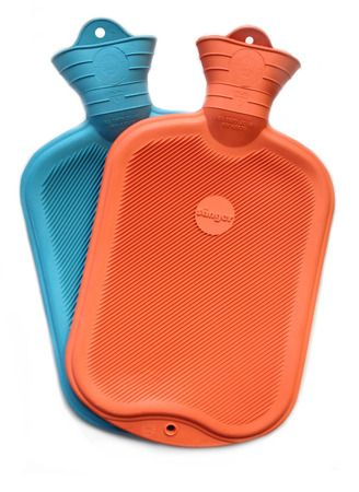 Hot water bottles made of uncomfortable ribbed rubber with no cover