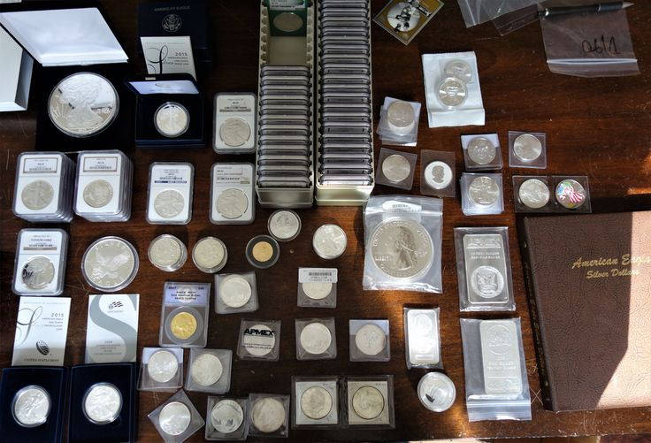 This is a deal that we got in earlier today. It includes proof and uncirculated silver eagles, Raw and graded by NGC. Also included are Morgan Silver Dollars, America the Beautiful Silver coins, Canadian Maple Leafs, Superman Coins, & generic silver in 1 to 10 ounce bars. Included also is Gold Buffalo & Eagle Coins. If you are interested in buying or selling bullion coins please come by and see us. Vermillion Enterprises 5324 Spring Hill Dr. Spring Hill, FL 34606 352-585-9772