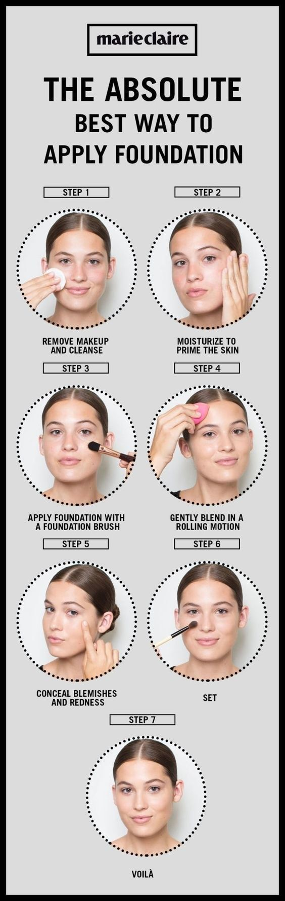 Here's a simple visual on putting all those steps together: | 17 Foundation Tips For Beginners That'll Make Your Face Glow