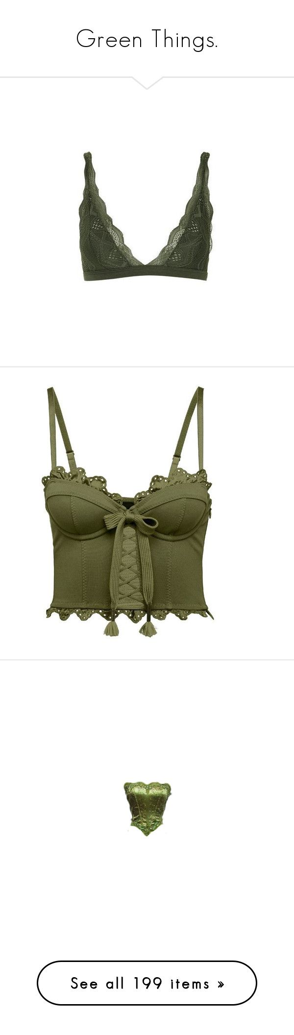 """""""Green Things."""" by alyssaclifford124 ❤ liked on Polyvore featuring intimates, bras, underwear, bra, lingerie, tops, green, khaki, lingerie lace bra and lacy lingerie"""